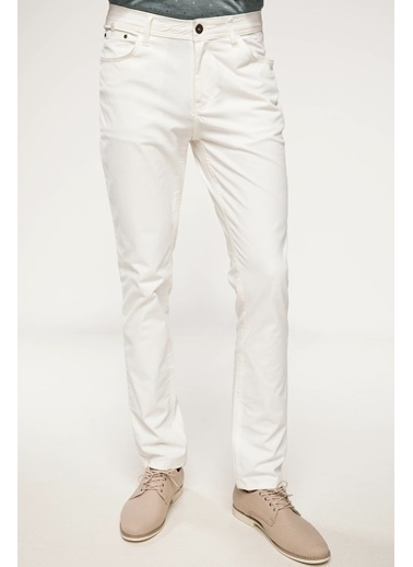 DeFacto Bruno Slim Fit Gabardin Pantolon Beyaz